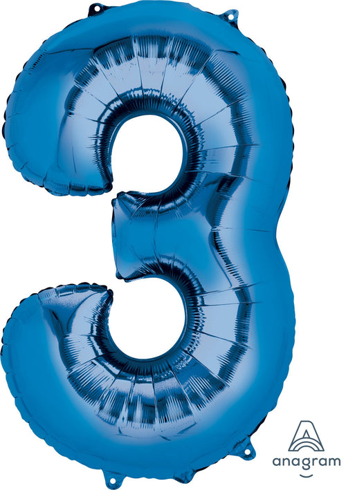 Mayflower Balloons Blue 3 Number Jumbo Balloon 34""