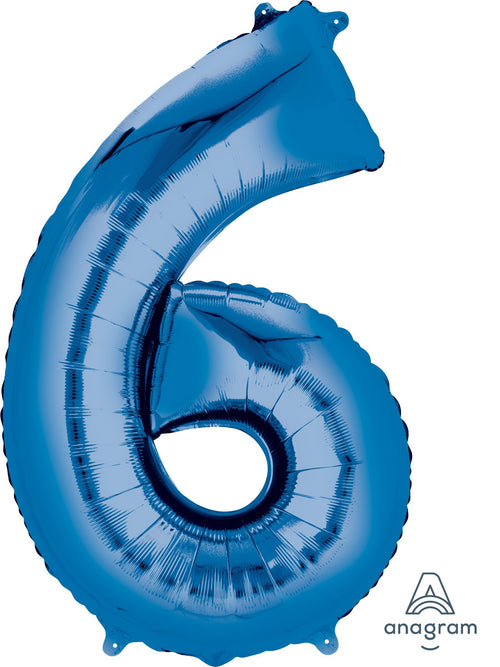 Mayflower Balloons Blue 6 Number Jumbo Balloon 34""