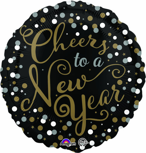 Mayflower Balloons Cheers to a New Year Confetti Celebration Mylar Balloon 18""