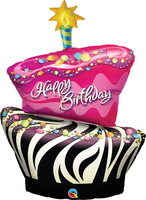 Mayflower Balloons Funky Zebra Birthday Jumbo Balloon 41""