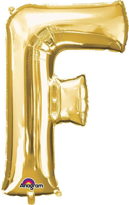 "Mayflower Balloons Gold ""F"" Letter Balloon 32"""