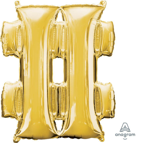 "Mayflower Balloons Gold ""#"" (Hashtag) Letter Balloon 33"""