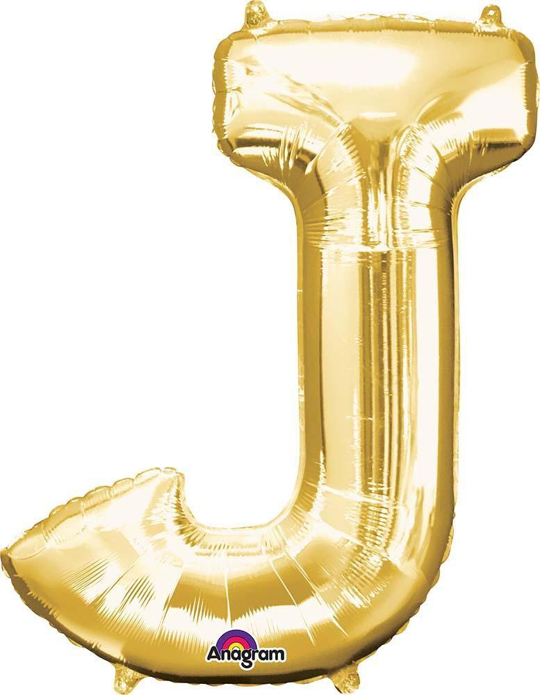 "Mayflower Balloons Gold ""J"" Letter Balloon 33"""