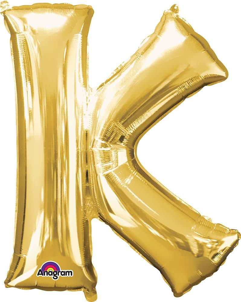 "Mayflower Balloons Gold ""K"" Letter Balloon 33"""