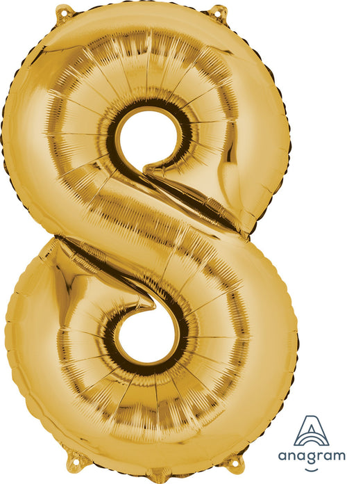 Mayflower Balloons Gold Number 8 Balloon 34in