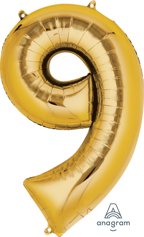Mayflower Balloons Gold Number 9 Balloon 34in