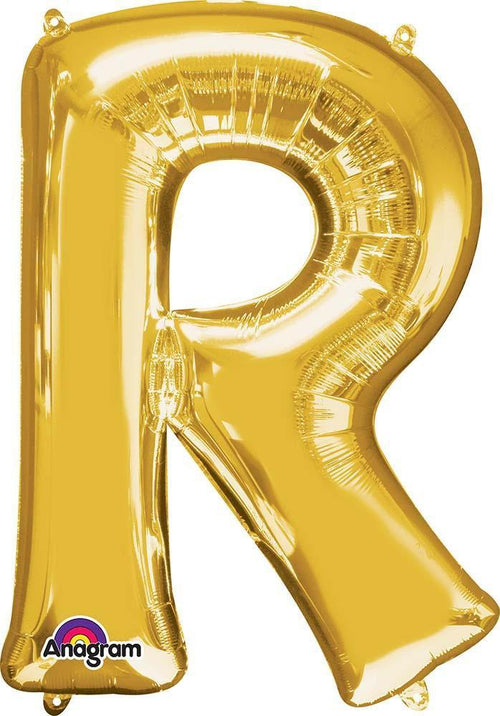 "Mayflower Balloons Gold ""R"" Letter Balloon 32"""