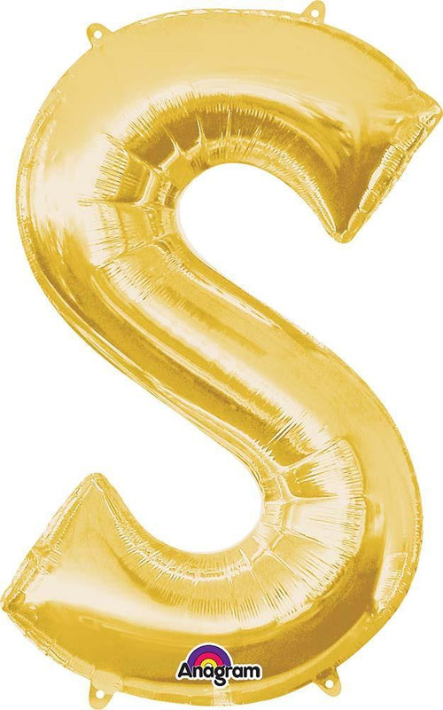 "Mayflower Balloons Gold ""S"" Letter Balloon 35"""