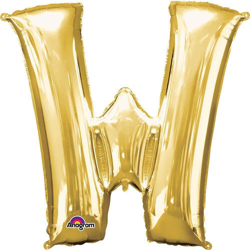 "Mayflower Balloons Gold ""W"" Letter Balloon 33"""