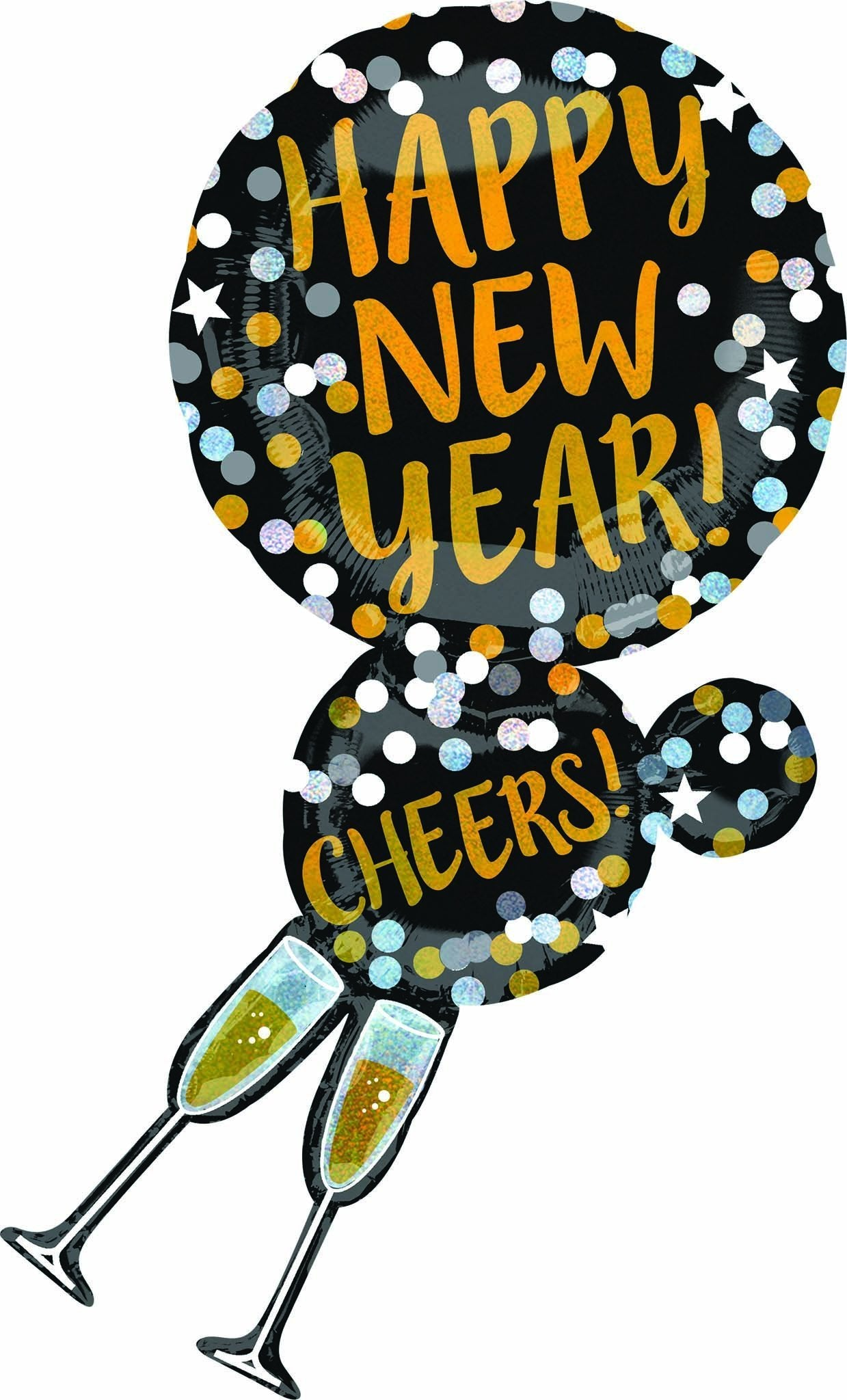 happy new year champagne glasses balloon