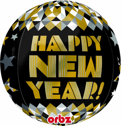 Mayflower Balloons Happy New Year! Gold Pattern Orbz Balloon - Black, Silver & Gold