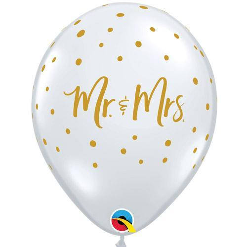 "Mayflower Balloons Mr & Mrs Dots Clear Balloon 11"" -"