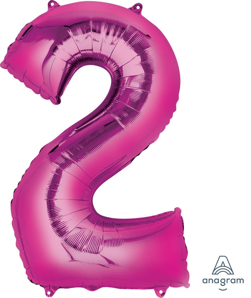 Mayflower Balloons Pink Number 2 Jumbo Balloon 34""