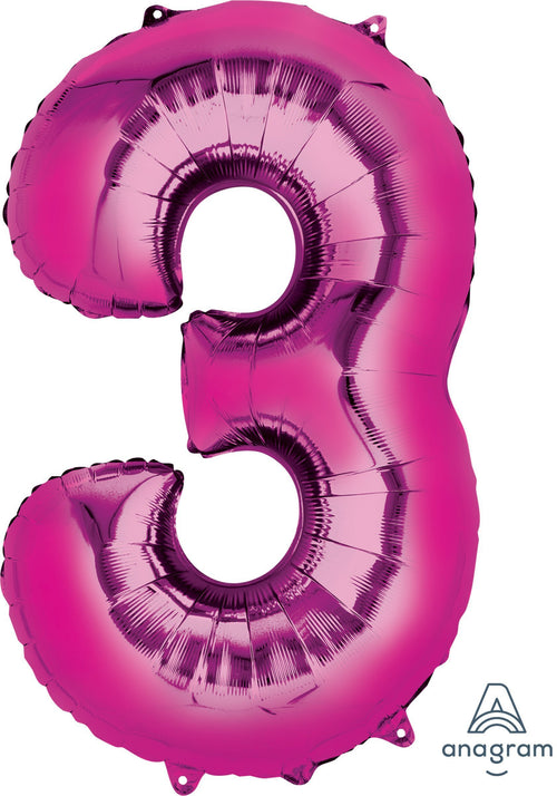 Mayflower Balloons Pink Number 3 Jumbo Balloon 34""