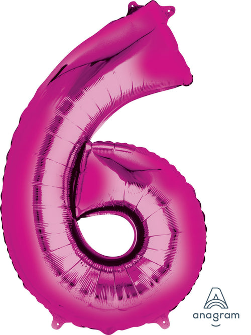 Mayflower Balloons Pink Number 6 Jumbo Balloon 34""