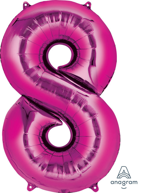 Mayflower Balloons Pink Number 8 Jumbo Balloon 34""