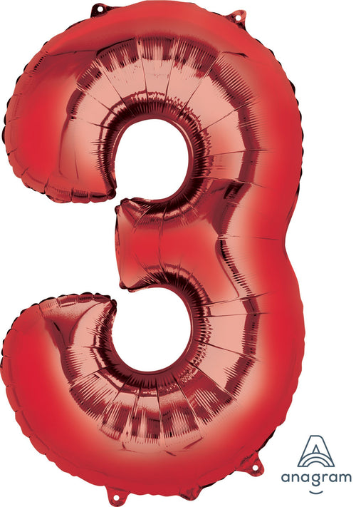 Mayflower Balloons Red 3 Number Balloon 34""