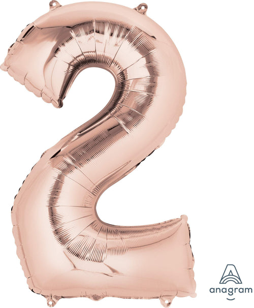 Mayflower Balloons Rose Gold Number 2 Balloon 33""