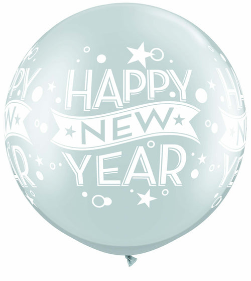 Mayflower Balloons Silver New Years Jumbo Latex Balloon 30""
