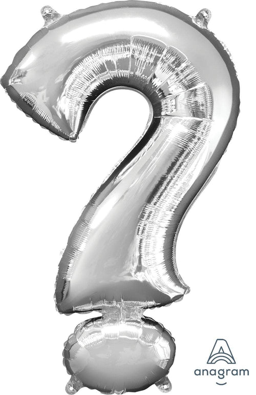 "Mayflower Balloons Silver ""?"" (Question Mark) Letter Balloon 33"""