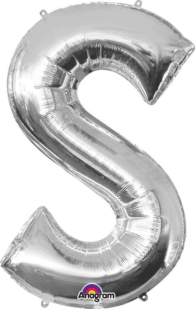 "Mayflower Balloons Silver ""S"" Letter Balloon 35"""