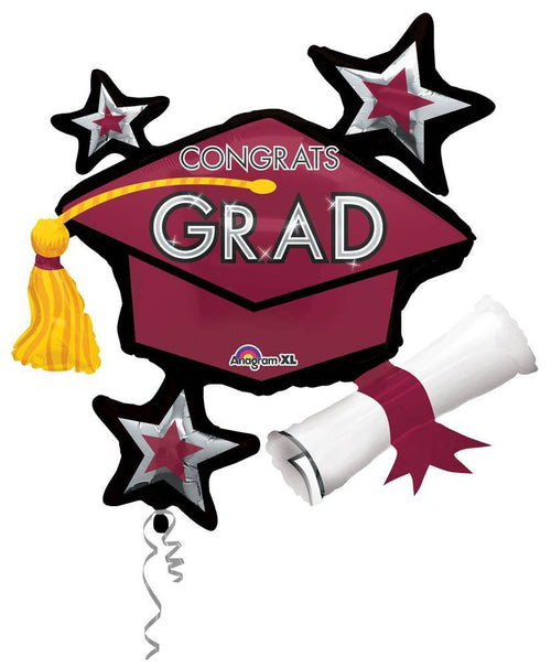 Mayflower Distributors Balloons Berry Congrats Grad Balloon Cluster 31""
