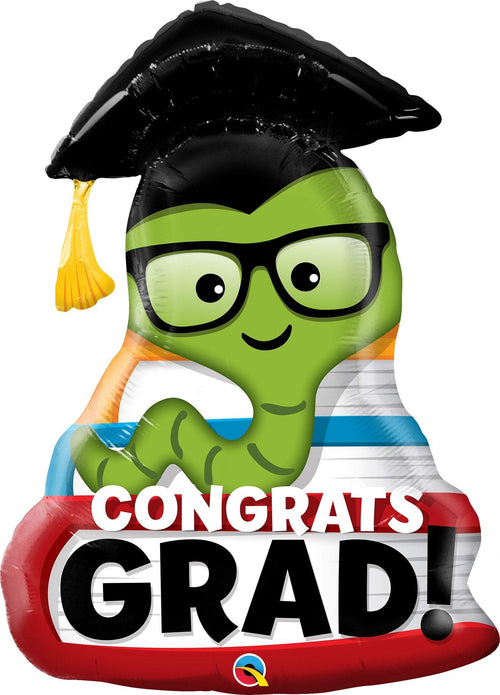 Mayflower Distributors Balloons Congrats Grad Bookworm Supershape Balloon 37""