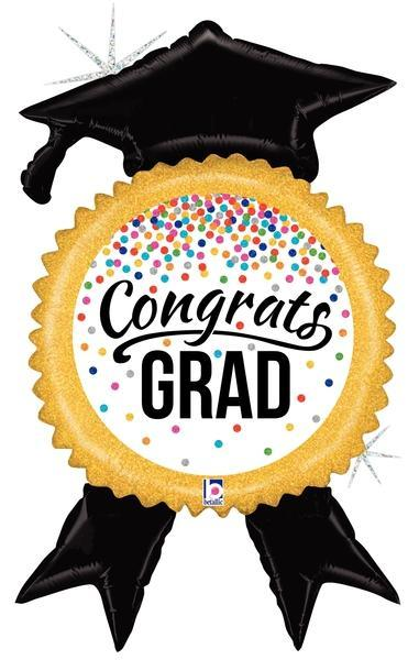 Mayflower Distributors balloons Glittering Congrats Grad Confetti Ribbon Jumbo Balloon