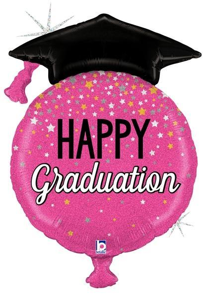 Mayflower Distributors balloons Glittering Pink Graduation Jumbo Balloon 38""