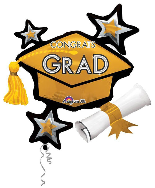 Mayflower Distributors Balloons Gold Congrats Grad Balloon Cluster 31""
