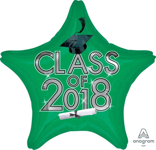 Mayflower Distributors Balloons Green Class of 2018 Graduation Star Balloon