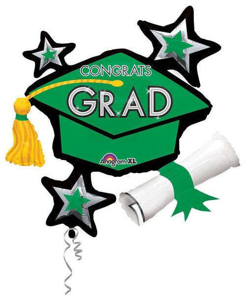 Mayflower Distributors Balloons Green Congrats Grad Balloon Cluster 31""