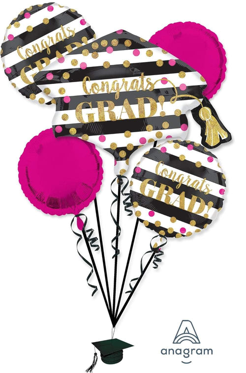 Mayflower Distributors Balloons Pink & Gold Confetti Grad Balloon Bouquet