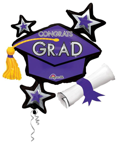 Mayflower Distributors Balloons Purple Congrats Grad Balloon Cluster 31""