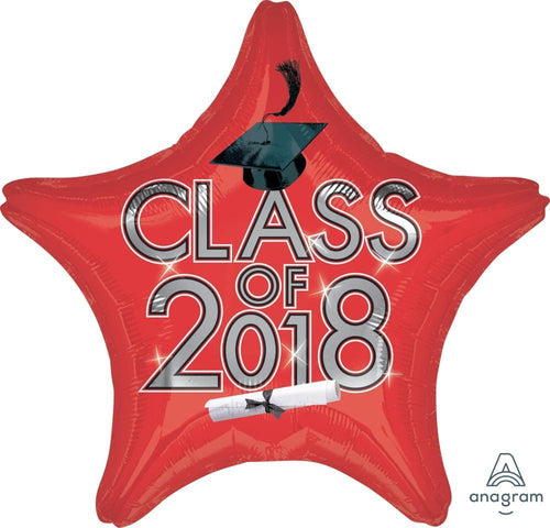 Mayflower Distributors Balloons Red Class of 2018 Graduation Star Balloon