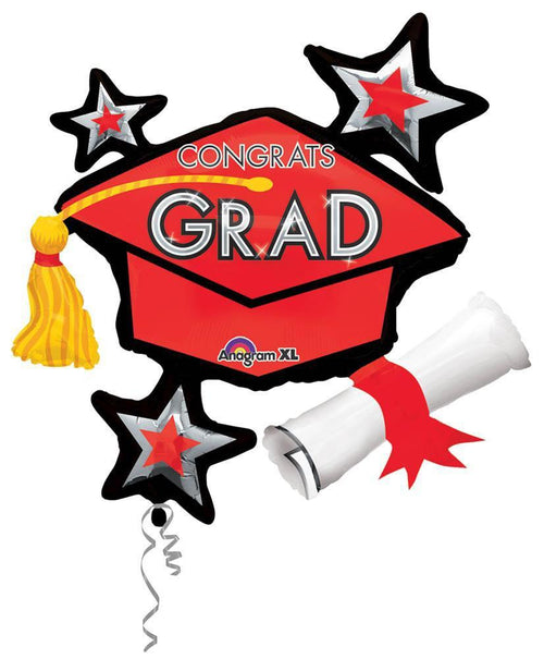 Mayflower Distributors Balloons Red Congrats Grad Balloon Cluster 31""