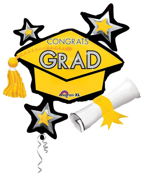 Mayflower Distributors Balloons Yellow Congrats Grad Balloon Cluster 31""