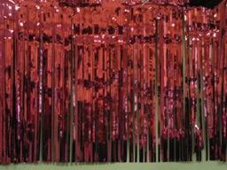 PARTY DECO DECORATION Burgundy Metallic Fringe 10ft x 15in
