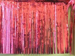 PARTY DECO DECORATION Fuchsia Metallic Fringe 10ft x 15in