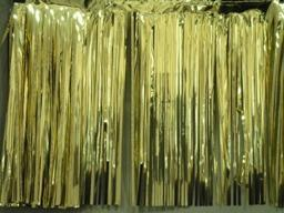 PARTY DECO DECORATION Gold Metallic Fringe 10ft x 15in