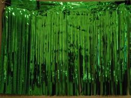 PARTY DECO DECORATION Green Metallic Fringe 10ft x 15in