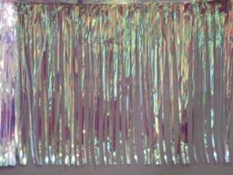 PARTY DECO DECORATION Iridescent Metallic Fringe 10ft x 15in