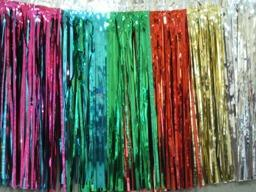 PARTY DECO DECORATION Multicolor Metallic Fringe 10ft x 15in