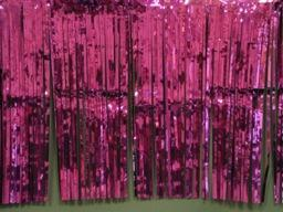 PARTY DECO DECORATION Plum Metallic Fringe 10ft x 15in