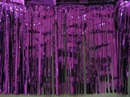 PARTY DECO DECORATION Purple Metallic Fringe 10ft x 15in