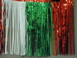 PARTY DECO DECORATION Red, Green & White Metallic Fringe 10ft x 15in