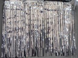 PARTY DECO DECORATION Silver Metallic Fringe 10ft x 15in