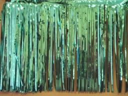 PARTY DECO DECORATION Teal Metallic Fringe 10ft x 15in