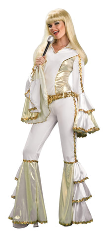 Adult Foxy Silver Disco Bodysuit Costume