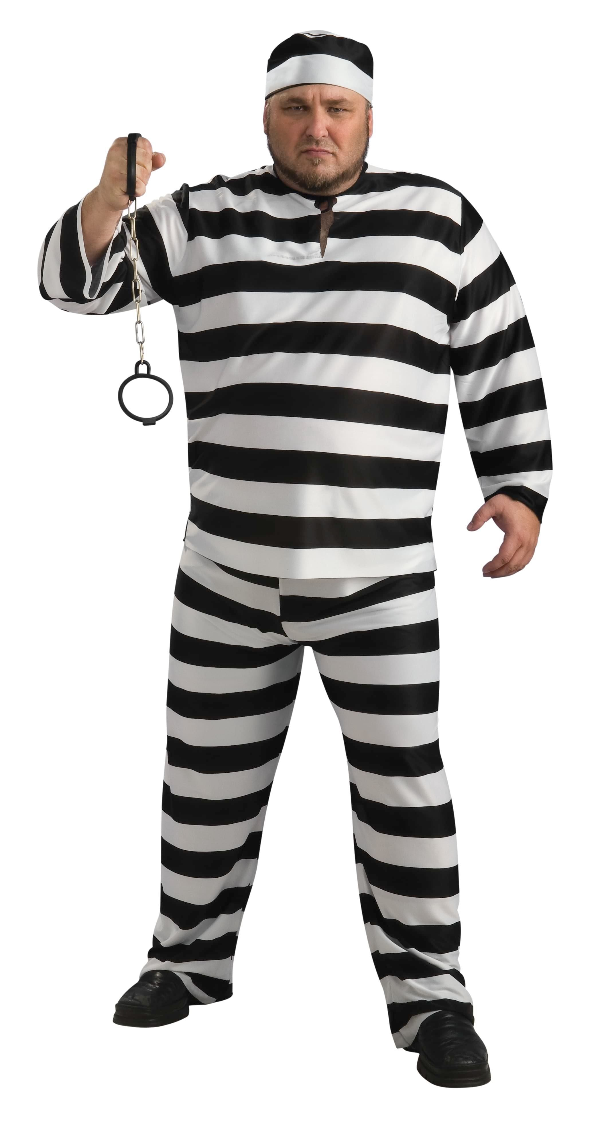e7792b2f495 Convict Man Prisoner Plus Size Costume